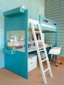 cama alta con armario de puertas debajo y mesa de estudio extraible debajo