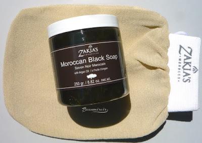 Zakia's Moroccan Black Soap with Argan Oil and Kessa Exfoliating Glove