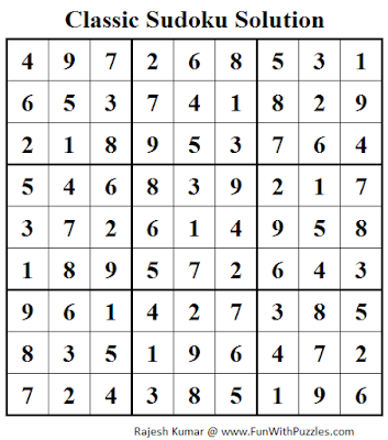 Classic Sudoku (Fun With Sudoku #41) Solution