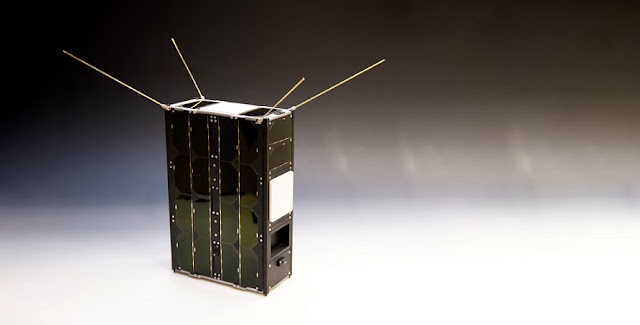 This replica of ESA's GomX-4B CubeSat, produced with 3D printing, is being exhibited at ESTEC, the Agency's technical heart in Noordwijk, the Netherlands. Credit: ESA–G. Porter, CC BY-SA 3.0 IGO