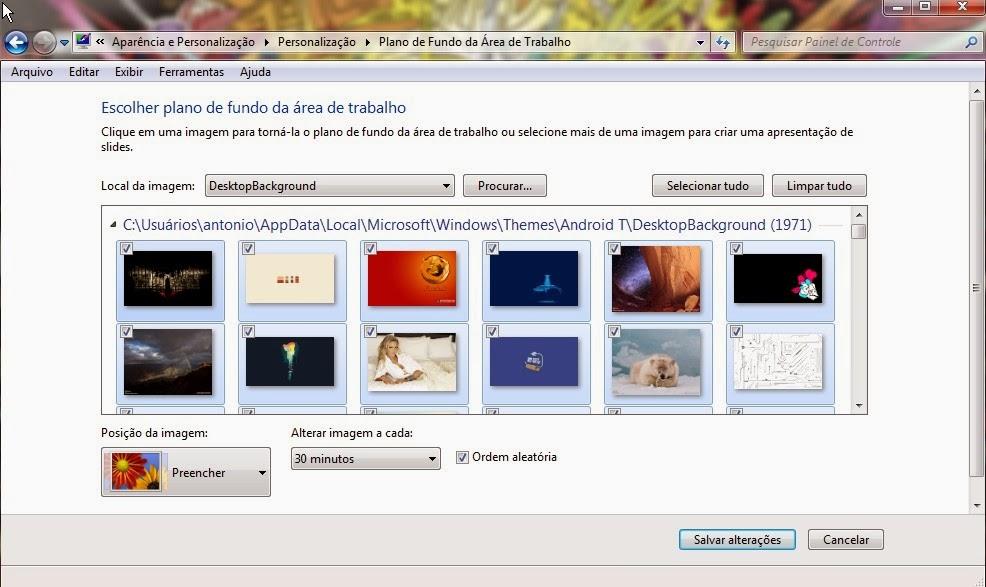 Troque os papéis de parede com o Windows seven