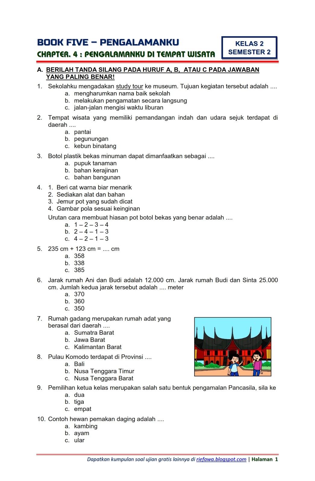 Download Soal Tematik Kelas 2 Semester 2 Tema 5 Subtema 4