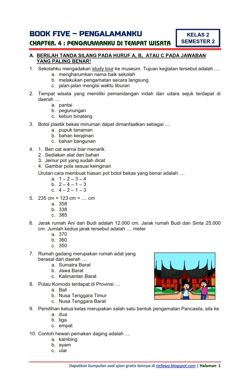Ujian Tema 5 Kelas 1 Guru Ilmu Sosial