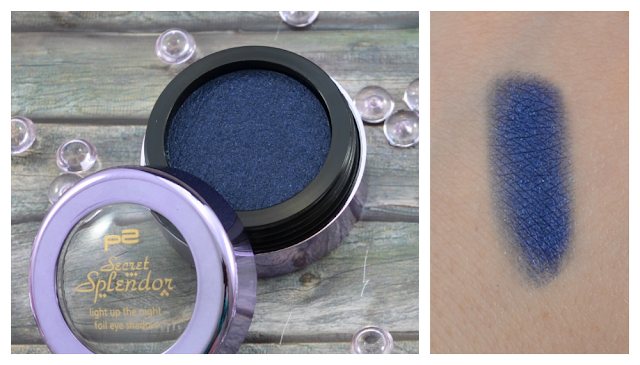 P2 secret splendor LE light up the night foil eye shadow 010 indigo enigma Swatch