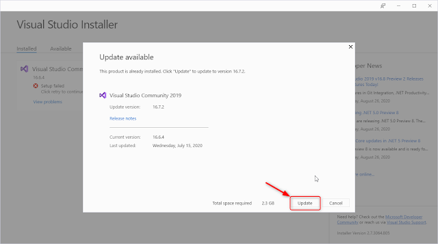 Visual Studio Installer - Update available
