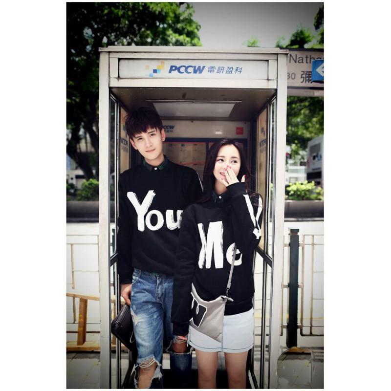 Jual Online Sweater You Me Hitam Murah Jakarta Bahan Babytery Terbaru