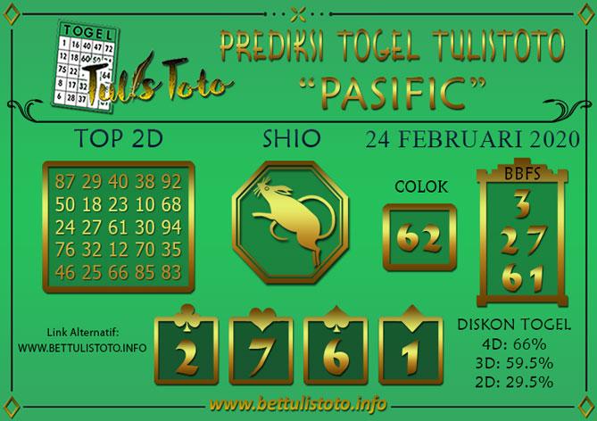 Prediksi Togel PASIFIC TULISTOTO 24 FEBRUARI 2020