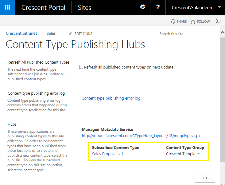 sharepoint powershell publish content type