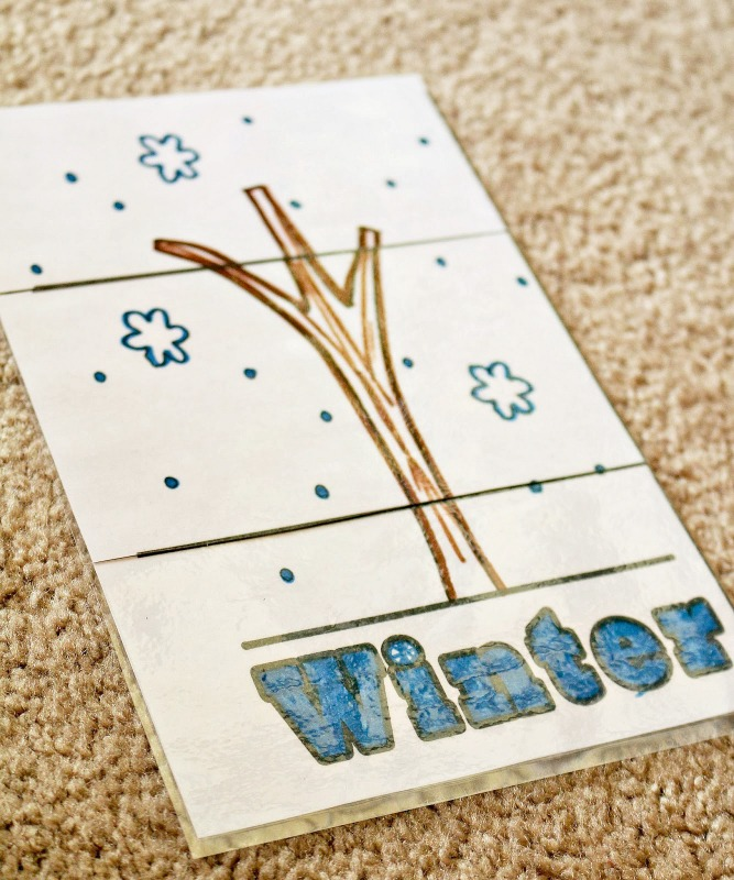 winter 3 part puzzle - letter w activity