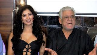 Om Puri with Niharika Raijada during an event