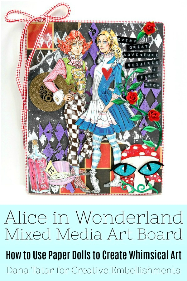 Mad Hatter and Alice Great Adventure Mixed Media Art Board