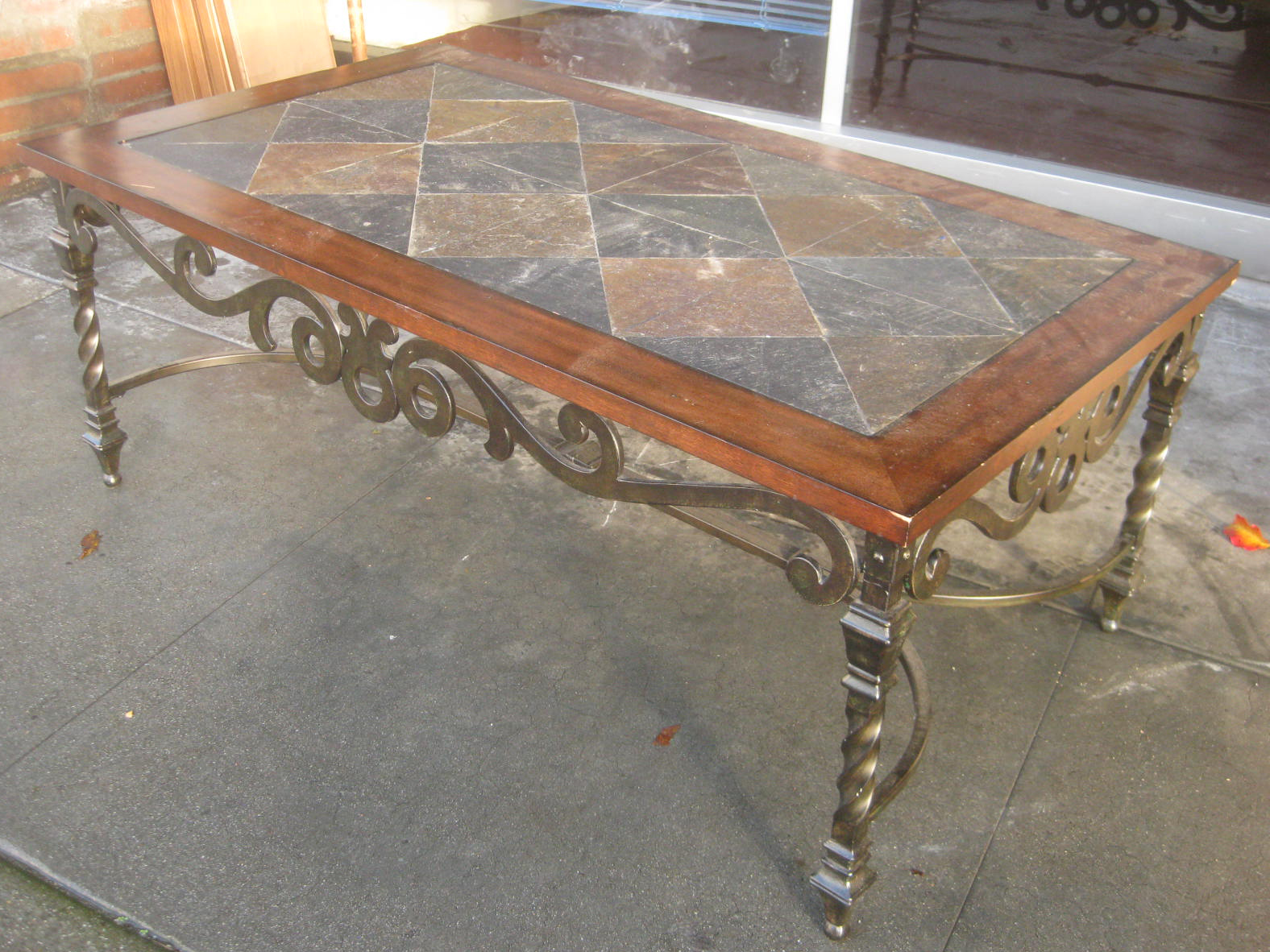 Sold Tile Top Coffee Table W Iron Legs 100