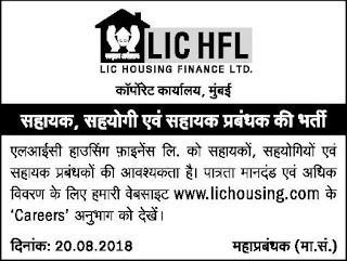 LIC Housing Recruitment 2018 300 Assistant, Manager Jobs for B.A B.com