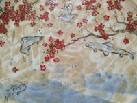 plat céramique fait décoré main cerisiers japonais poissons oiseaux piatto in ceramica fatto decorato a mano ciliegi pesci uccelli