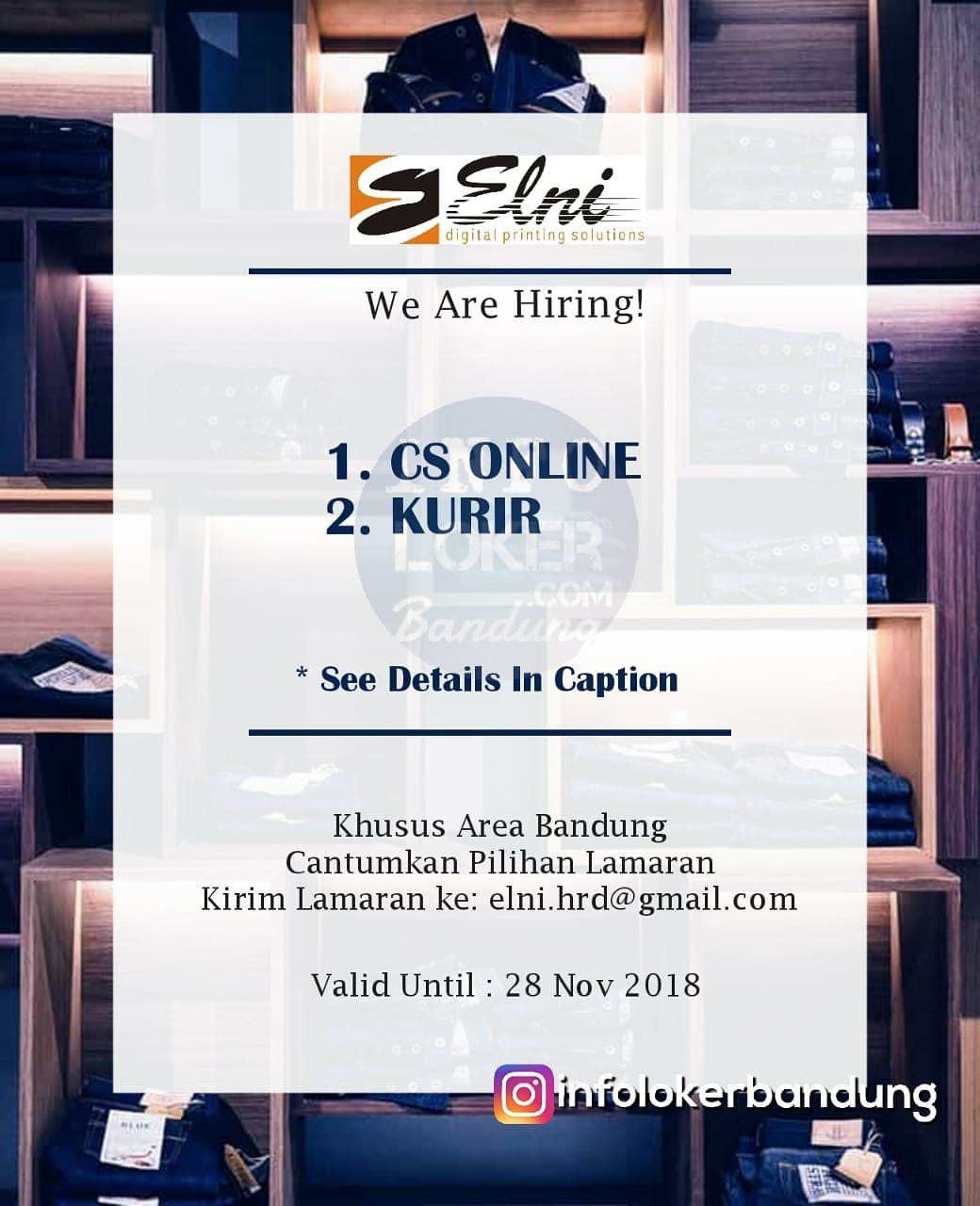 Lowongan Kerja PT.Elni Digital Printing Bandung November 2018