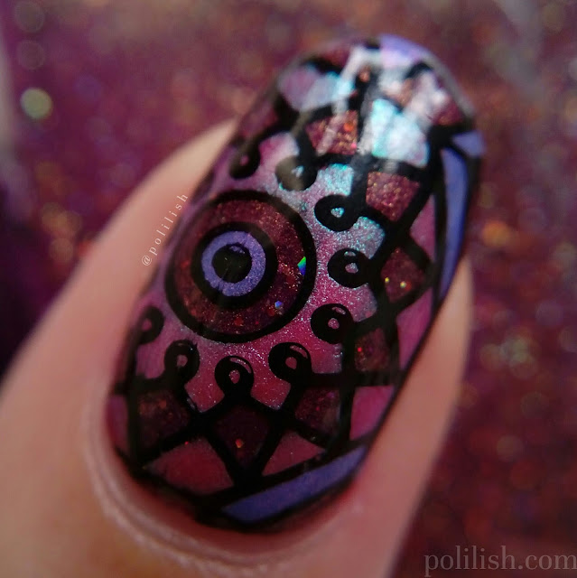Kaleidoscope or stained glass nail art (macro), by polilish