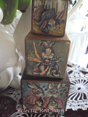 Eclectic Red Barn: Hand painted Easter blocks