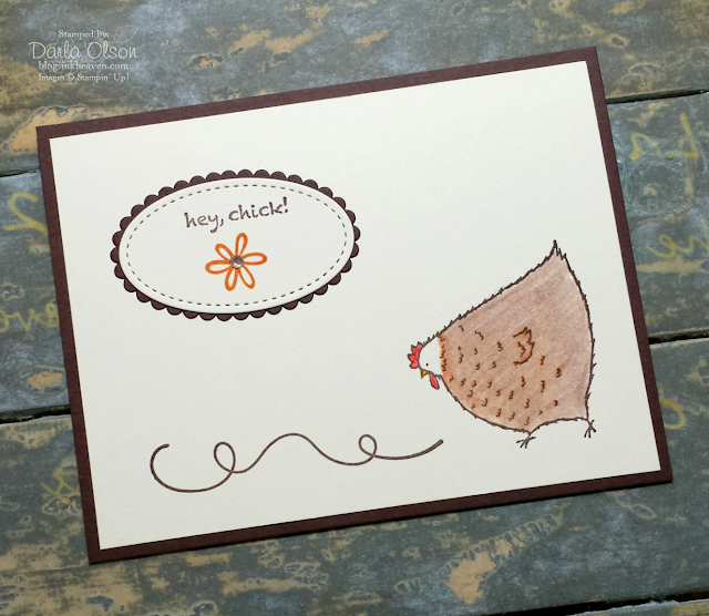Handmade card created with Hey, Chick! shared by Darla Olson at Inkheaven