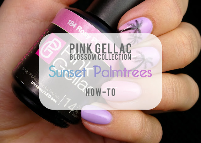 Pink Gellac Blossom Collection palmtree nail art
