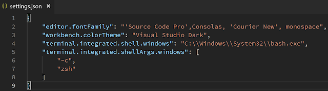 VS Code Setting Shell Windows - settings.json