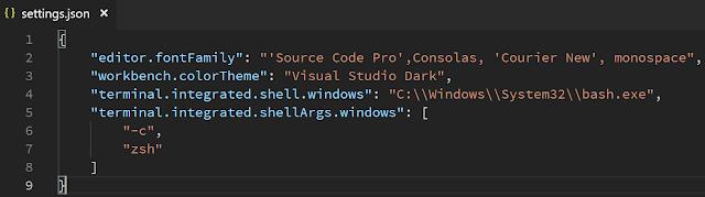 VS Code Setting Shell Windows - settings.json