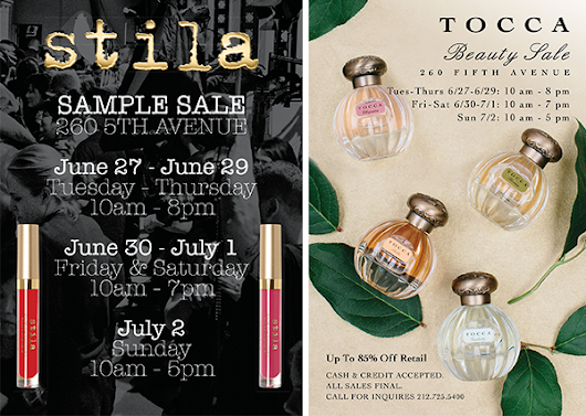 TOCCA + Stila Sample Sale Extended + Further Reductions - 7/3 - 7/9/17