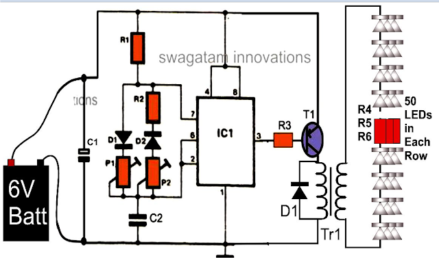 Wiring Pre Circuit diagram: Illuminating 100 LEDs from 6