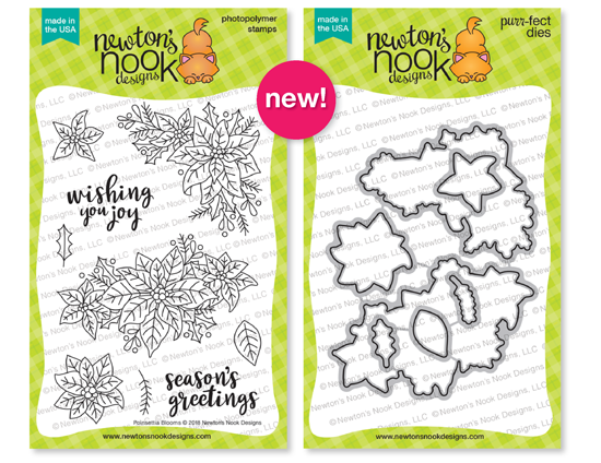 Poinsettia Blooms Stamp and Die Set by Newton's Nook Designs #newtonsnook