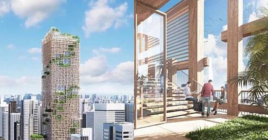 foto rancangan gedung kayu tertinggi didunia