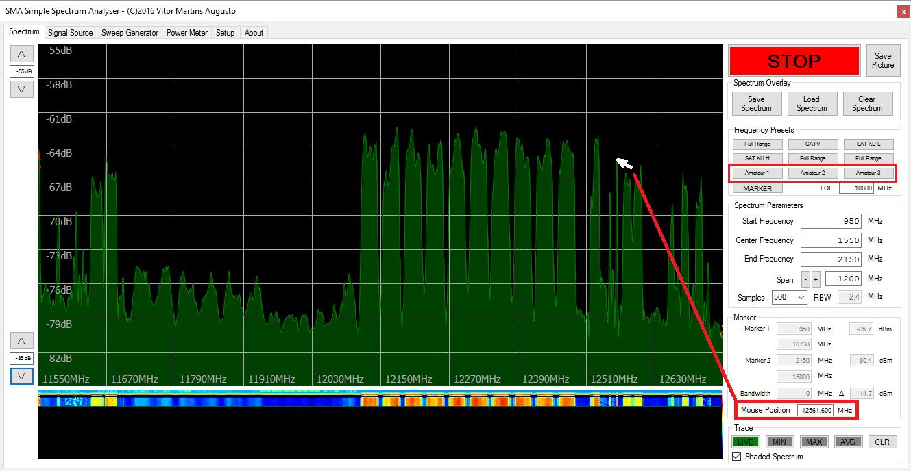 VMA's Satellite Blog: SMA Simple Spectrum Analyzer Software