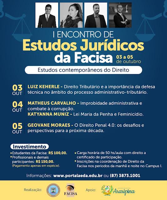 AEDA/Facisa promovem I Encontro de Estudos Jurídicos entre os dias 3 a 5 de outubro com grandes palestrantes