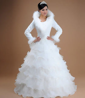 Fur Collar Long Sleeves Wedding Dress for Winter Wedding Theme
