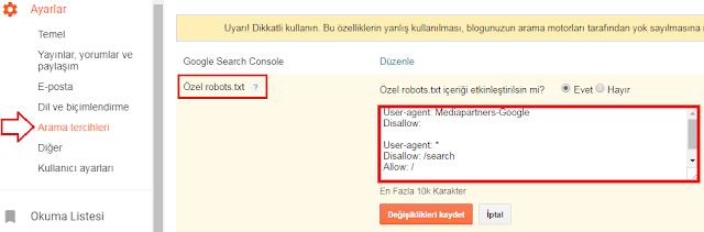 """""""Özel robots.txt"""" dosyası"""