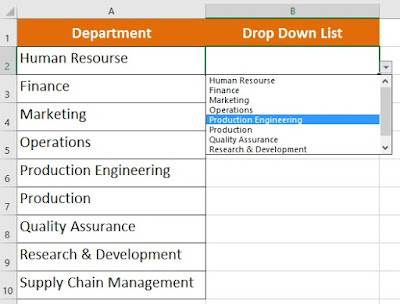 create drop down list using data validation in excel