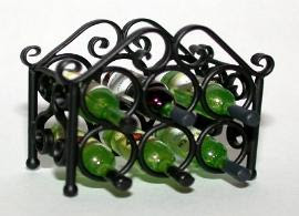 miniature wrought iron wine rack, for six bottles