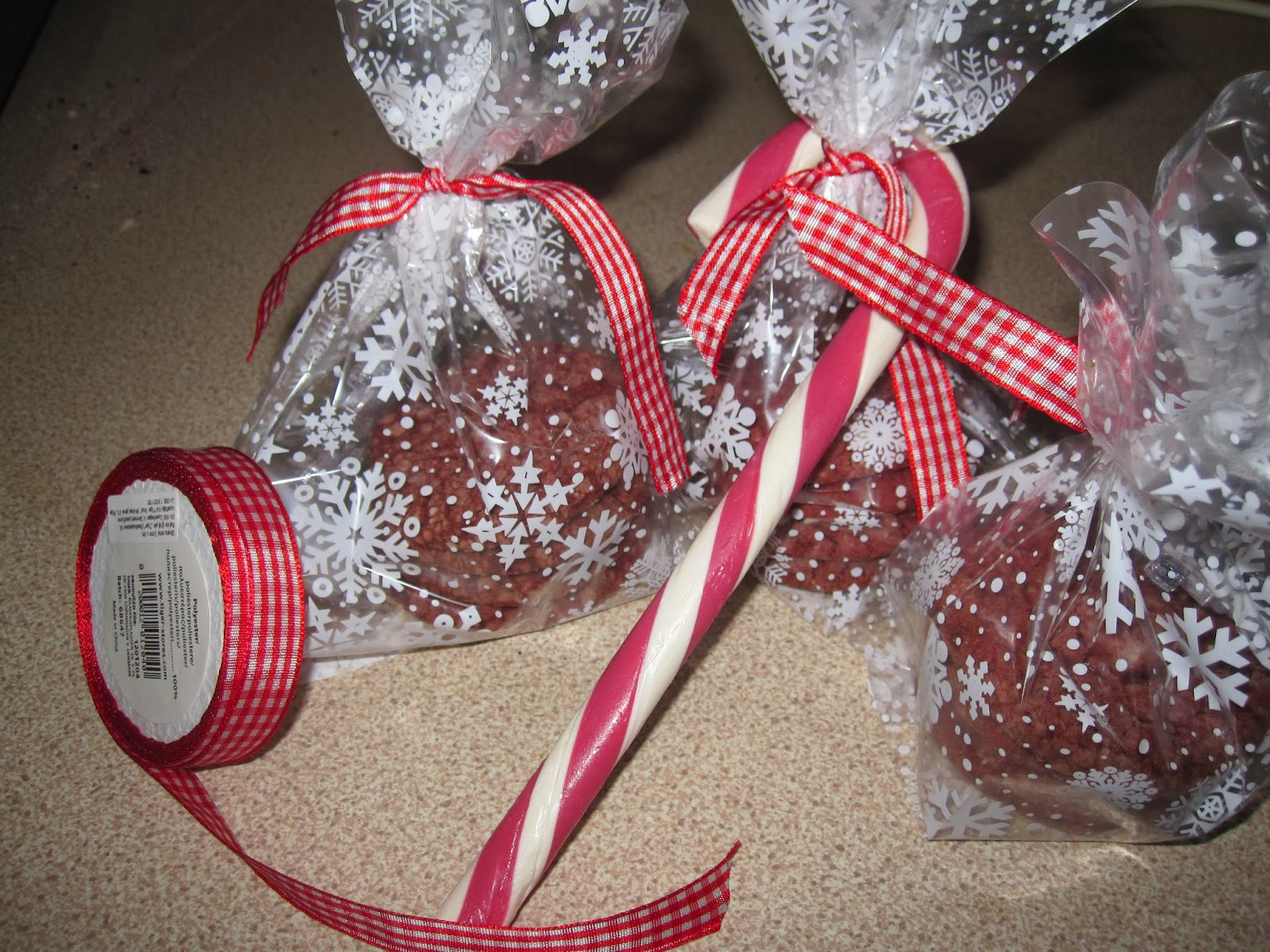 Red Velvet Cookies, wrapped, with the candy cane
