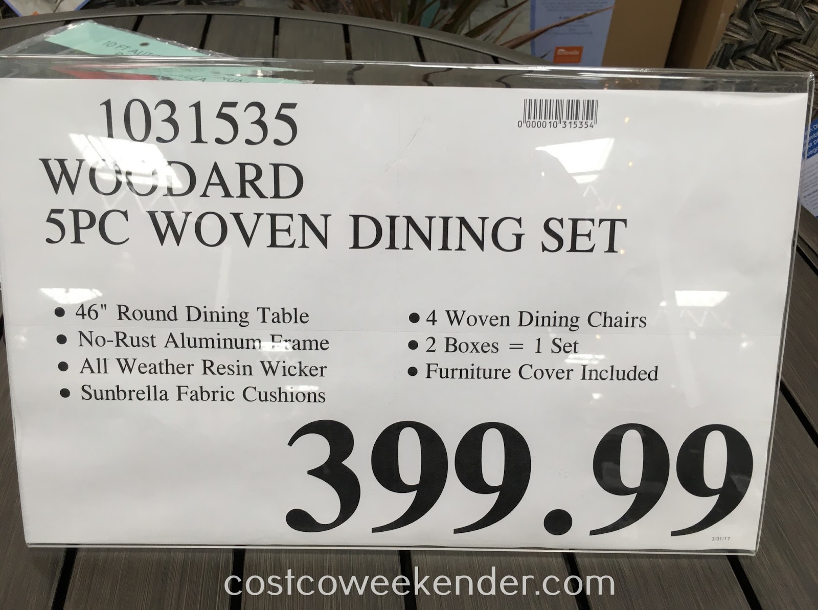 Deal for the Woodard 5-piece Woven Dining Set at Costco