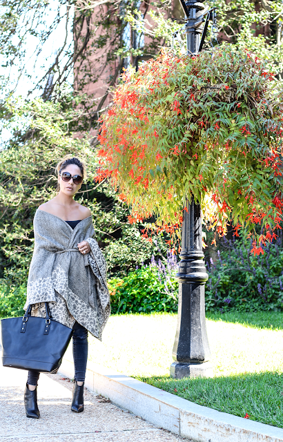 leopard printed tie on belt poncho