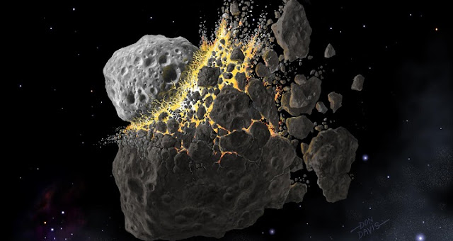 This is an artist's rendering of the space collision 466 million years ago that gave rise to many of the meteorites falling today. Image credit: © Don Davis, Southwest Research Institute.