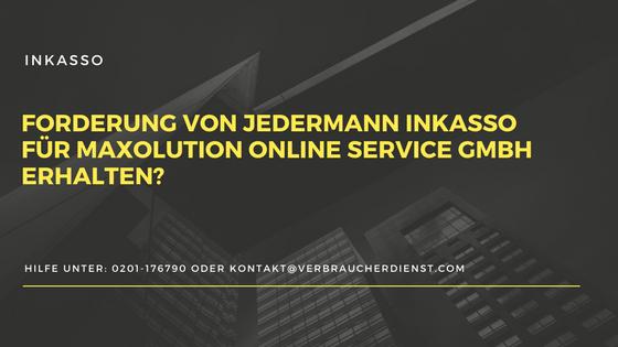 Titelbild: Jedermann Inkasso für Maxolution Online Service GmbH