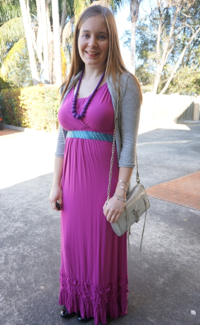 pink maxi dress for spring steam train sunday silver mini MAC grey cardi scarf as belt | Away From Blue