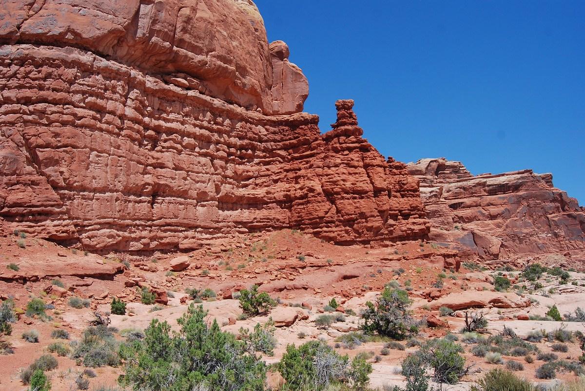 Arches, le domaine du grès rouge, une couleur due aux oxydes de fer.