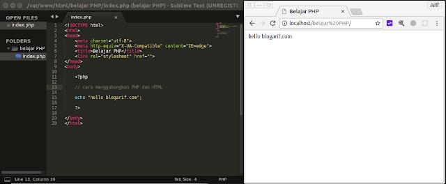 Cara menggabungkan PHP dan HTML
