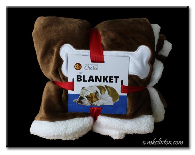 Bentley's sherpa/fleece blanket from PrideBItes