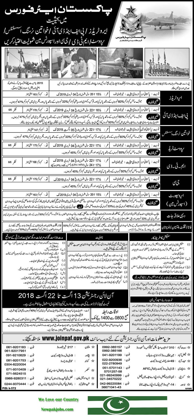 Join Pakistan Air Force, PAF Jobs 2018, Joinpaf.gov.pk, August 2018