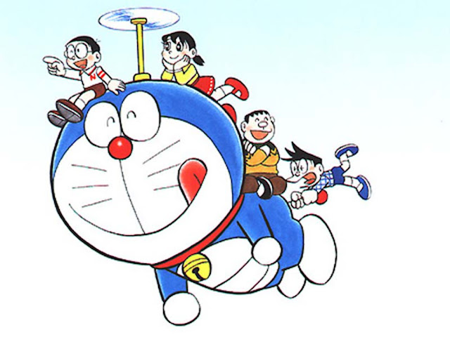Wallpaper Doraemon Terbang Dengan Baling-Baling Bambu