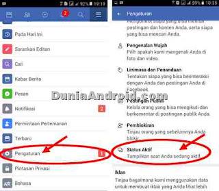 menu pengaturan status aktif di FB