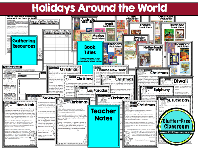 Holidays Around the World Unit For Kids | Clutter-Free Classroom