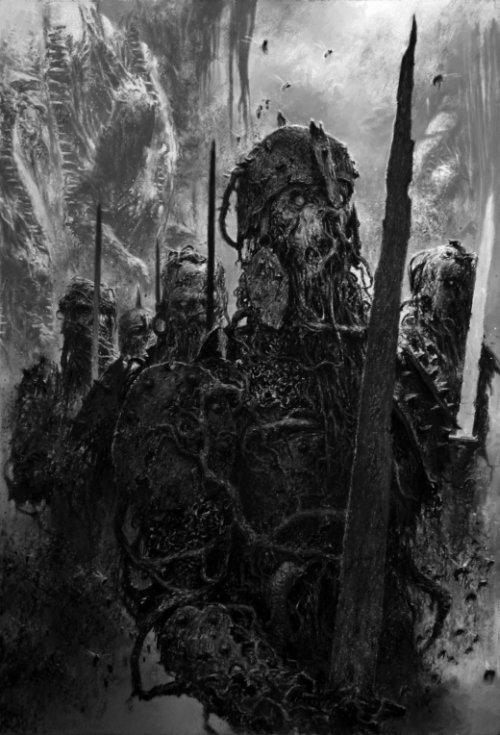 Adrian Smith artstation arte ilustrações fantasia sombrio games preto e branco