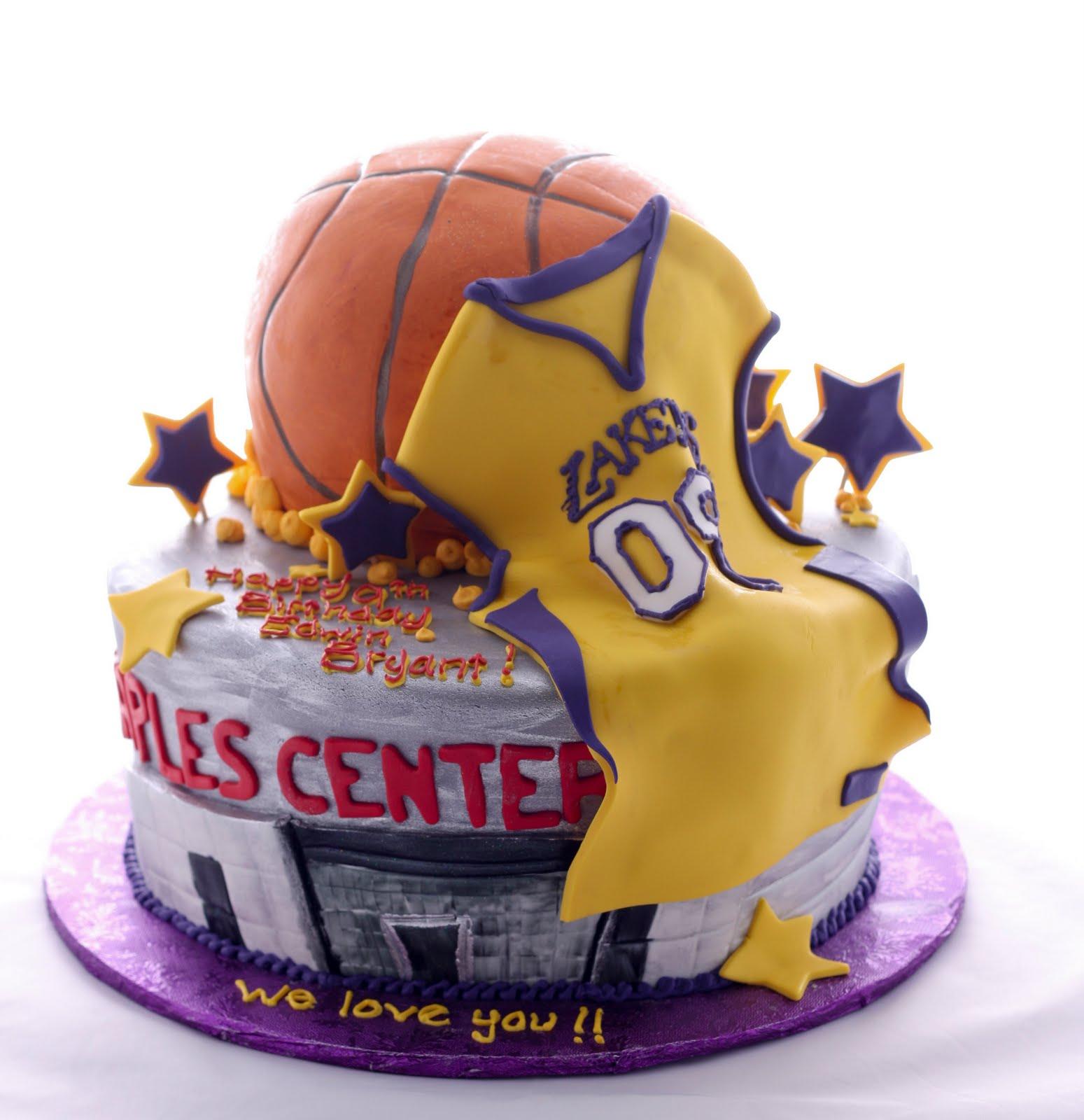 The Crimson Cake Blog Lakers Stapes Center Cake